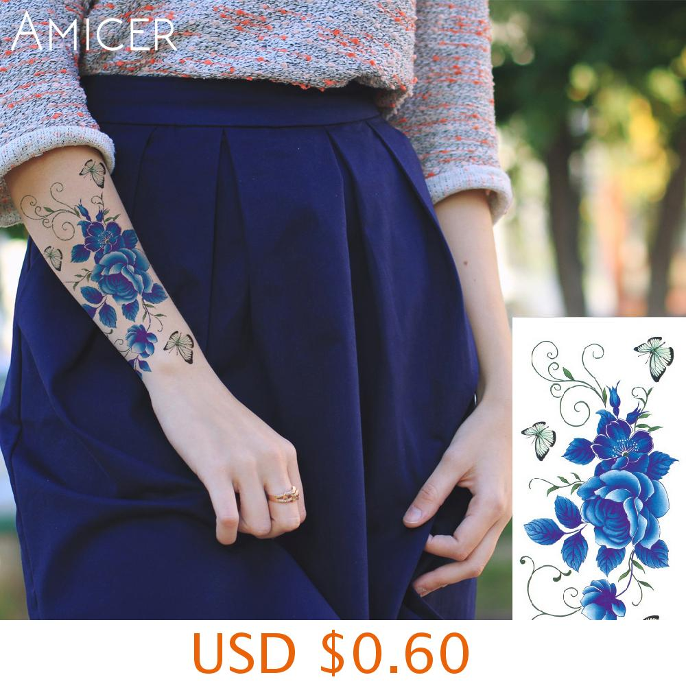 sexy romantic dark rose flowers flash fenna tattoos fake Waterproof temporary tattoos stickers body art Tattoo sleeve 6