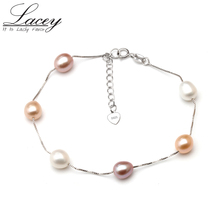 Real natural pearl bracelet for women,freshwater pearl chain link bracelet jewelry wedding 925 silver charms bracelet gift(China)