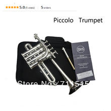 Bach Bb Piccolo Trumpet B Flat Silvering Plated Exquisite Durable Trompeta Stainless Steel with Durable Mouthpiece Gloves Box(China)