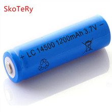 10 pc super fire 14500 battery 1200mah 3.7 V lithium ion rechargeable batteries and LED flashlight, free delivery