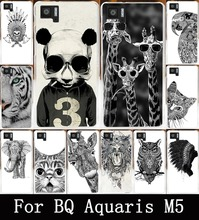 Cool Animal Cat Giraffe Elephant Case For BQ Aquaris M5 M 5 Cover Cases Back Protection Shell Hood Soft TPU Hard PC Housing Bags