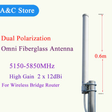 5.8g mimo antenna dual polarization omni fiberglass 24dBi wifi antenna 5150~5850mhz high quality factory outlet antenna(China)