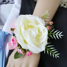 3 colour flowers Bride wrist Corsages Wedding Flower Party Decoration 1  price Artificial flower Women Hand Rose Bigger