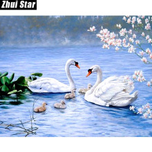 "Zhui Star 5D DIY Full Square Diamond Painting ""Happiness Swan Lake"" 3D Embroidery Cross Stitch Mosaic Painting Decor Gift BK"