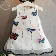 Lovely Kids Girls Chiffon Dress Hot Summer Little Girls Lace Dresses Butterfly Embroidery Princess Party Dress White Costumes