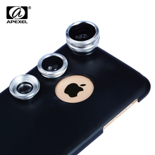 APEXEL Cell Phone Camera Lens 3 In 1 Kit Professional Fisheye, Macro & Wide Angle Lenses case For iPhone, Samsung phone lens CX3