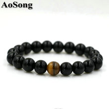 BPPCCR 12 Constellation Natural Black Onyx 10mm Lava Tiger eye Stone Beads Men Bracelet Leo Lovers Energy Strand pulseras(China)