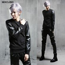 MIXCUBIC Autumn punk style Night costumes Hollow Splicing PU leather T shirts men casual slim Hollow T-shirts for men,M-XL