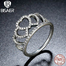 BISAER 100% 925 Sterling Silver Hearts Tiara, Clear CZ Women Finger Ring Compatible with Original Jewelry HJ7194