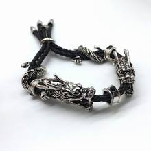 2017 Fashion Cool Bracelet Two Dragon Head  Luxury Black Adjustable Rope Chinese Dragon Bracelet&Bangles