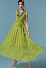 Free Shipping High Quality Fashion New Arrival Hand Make Beads Decorated Sleeveless Woman Chiffon Long Dress Green