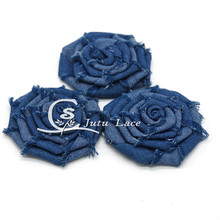 20 pcs/lot , 3'' denim rose frayed flower , shabby denim rose flower for headband hair acessories
