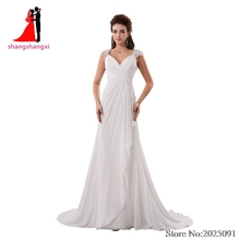 2017 New White Beach Wedding Dresses 2017 Chiffon Plus Size Bridal Gown Off-Shoulder Backless  Appliques Long Prom Gown
