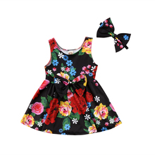 2018 New Fashion Black Floral Toddler Kid Baby Girls Sister Matching Clothes Heart Party Prom Bowknot Dress Cute Sweet Sundress(China)