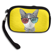 New Cool Fashion Creative 3D Print Cat Wear Sunglasses Womens Wallet Girls Cute Coin Purse Small Storage Bags For Key Card