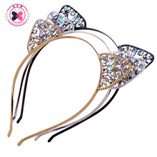 Haimeikang Women Hair Hoops Cat Ears Crown Tiara Headband Rhinestone Princess Hollow Hairband Cat's ears Bezel Hair Accessories