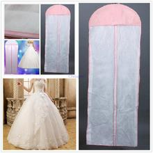 New White Breathable Wedding Prom Dress Bridal Gown Garment Hanging Storage Bag Clothes Dust Cover Zip