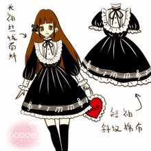 Kawaii Girls Gothic Lolita Music Notes Black Long/short Sleeves Dress One-Piece Cute Lace Trim Dress