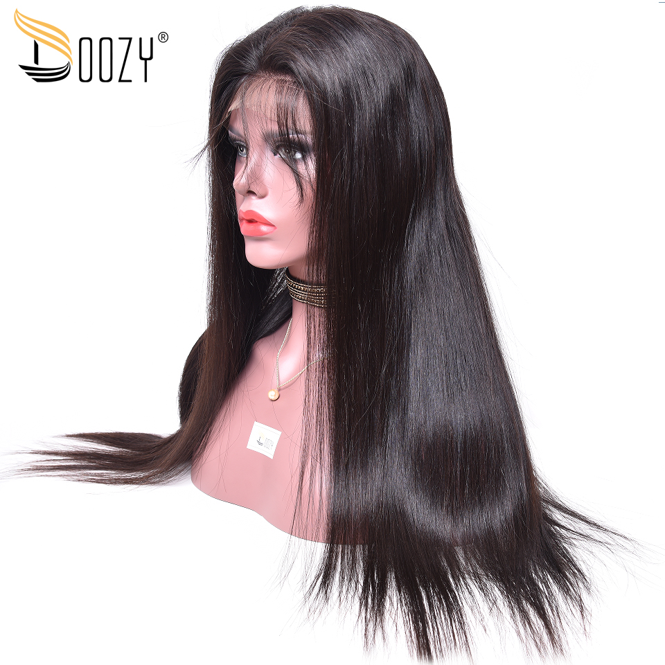 Doozy 250 density straight virgin brazilian human hair 22inches natural color 360 lace frontal wig