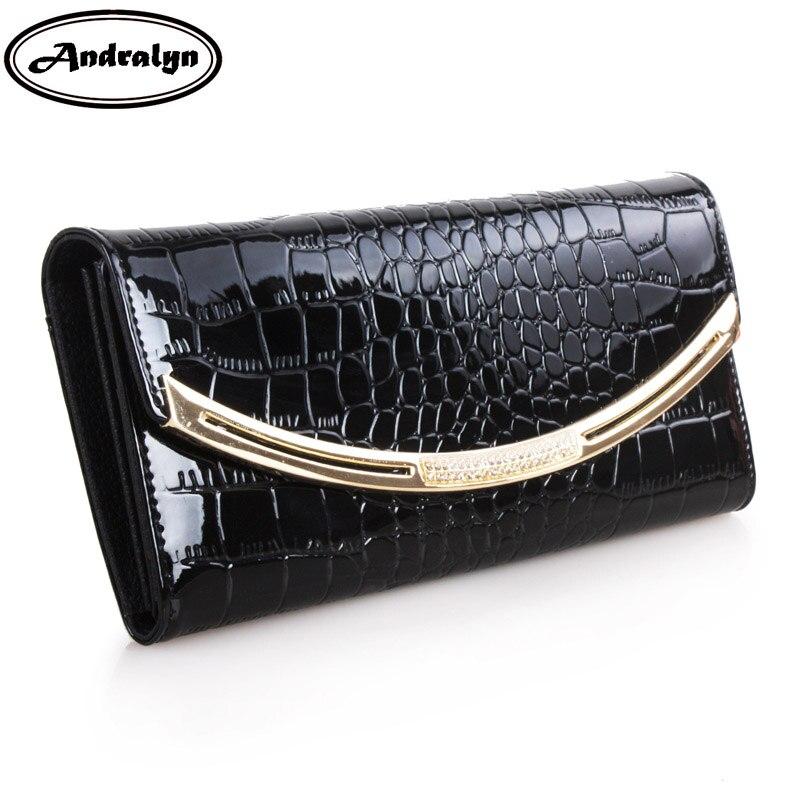 Andralyn Luxury Fashion Bright Leather Women Long Wallets Female Clutch Ladies Phone Purse Coin Credit Card Holder Cuzdan<br>