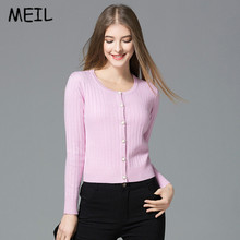 MEIL2017 women fall color thread single breasted collar slim knit cardigan
