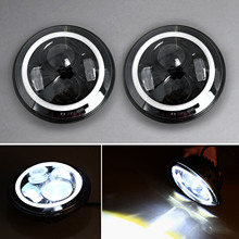 Motorcycle 1Pair 7 Inch Round LED Headlights Halo Angle Eyes for Jeep 97-14 Wrangler JK LJ TJ Hummer H1&H2 Land Rover Defender