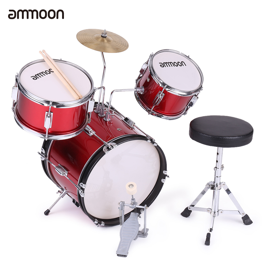 ammoon 3-Piece Kids Children Junior Drum Set Drums Kit Percussion Musical Instrument with Cymbal Drumsticks Adjustable Stool(China)