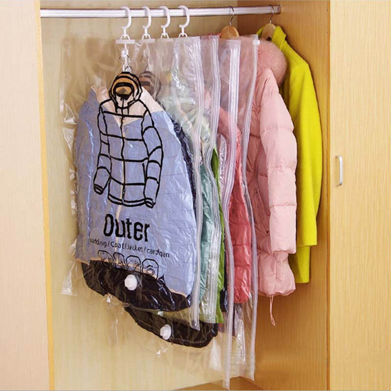 Vacuum Compressed Bag with Hook Portable Hanging Storage Bag Wardrobe Closet Dustproof Organizer Dust Cover Protector(China (Mainland))