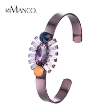 //Purple bangle cuff crystal bangles// new arrivals bracelet colorful crystal mosaic round metal bracelet cuff eManco BL06939(China)