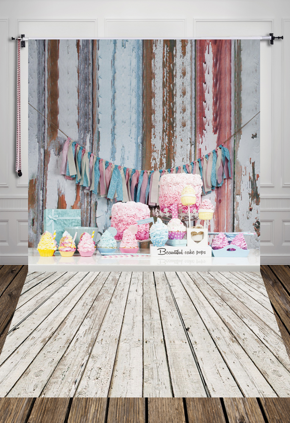 5X7ft1.5x2.2m) newborn baby birthday photography backdrops printed with wood floor and delicious cakes D-7245<br><br>Aliexpress