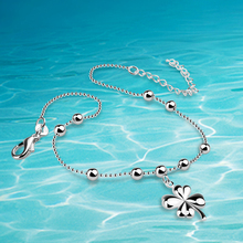 Anklets!925 sterling silver woman anklets;Ms exquisite gift. clover pendant foot anklet 27cm long(China)
