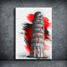 ITALY PIZZA TOWER Landscape Print on Canvas painting wall art picture bar pub cafe  for living room posters and prints YOQB017