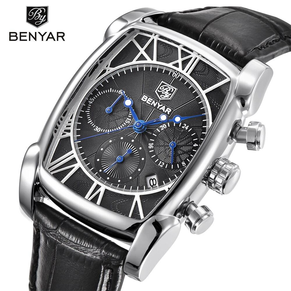 Relogio Masculino BENYAR Brand Fashion Sport Chronograph Mens Watches 30M Waterproof Genuine Leather Strap Luxury Quartz Watch<br>
