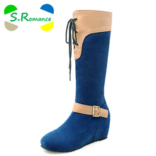 S.Romance Fashion Women Boots Plus Size 34-43 Round Toe Knee High Snow Boots Winter Boot Women Shoes Black Red Blue SB287