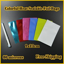 100pcs 9x13 cm (3.5''x5.1'') Free Shipping,Colorful Heat Seal Smell Proof Foil Bags Foil Pouches Food Storage
