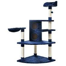 Domestic Delivery Luxury Blue Cat Furniture Cat Jumping Toy Ladder Wood Scratching Post Climbing Tree Cat Climbing Frame Safe(China)