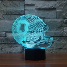 NFL Team OHIO Football Helmet Sport Cap 3D Light 7 Color Colorful Night Light LED Table Lampara Home Decor Child Christmas Gift