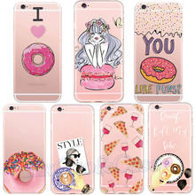 Charming Delicous Donut Sexy Girl Love Pizza Glasses Phone Case Thin Soft TPU for iPhone 5 5s se 6 6s Plus Thin Back Capa
