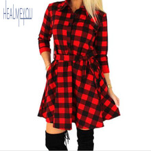 HEALMEYOU 2017 Explosions Leisure Vintage Dresses Autumn Fall Women Plaid Check Print Spring Casual Shirt Dress Mini