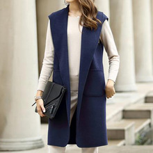 2017 Spring Vests Cashmere Solid Turn Down Collar Long Sleeveless Small Fresh All Match Pocket Casual Fashion Vintage Style