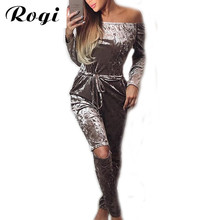 Rogi Sporting Rompers Womens Jumpsuit Sexy Slash Neck Long Sleeve Velvet Bodysuits Hollow Out Overalls Solid Combinaison Femme