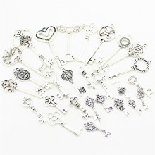 Sweet Bell Antique Silver Metal Mixed Key Charms Brass Zinc Alloy DIY Key Shaped Charm Pendant Making 20-45pattern 30pcs D0954(China)