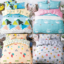 Fashion 4Pcs Twin/Full/Queen/King Size Bedding Linen Quilt/Duvet/Doona Cover Set & Sheet Shams Colorful Triangular Geo Clouds