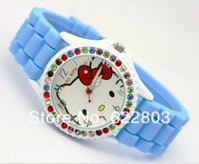 New Fashion crystal hello kitty women rhinestone watches ladies Silicone Band spotrs Quartz WristWatches Free Shipping