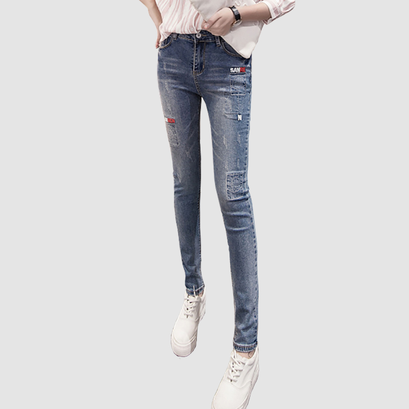 Fashion Mid Waist Jeans High Elastic Plus Size Women Jeans Woman Femme Washed Casual Skinny Letters Pencil Denim Pants TrousersОдежда и ак�е��уары<br><br><br>Aliexpress