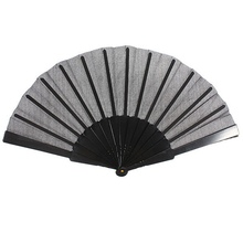 Potable Chinese Plain Hand Held Fabric Folding Fan Summer Pocket Fan Wedding Party
