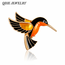 QIHE JEWELRY Enamel Birds Brooch Pins For Women Lady Classical Fashion Accessories Suits Sweater Decoration