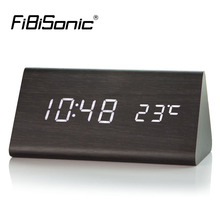 FiBiSonic Wood LED Clocks,Wooden Alarm Clock Calendar Thermometer For Gift,Sounds Control Digital Clock & Despertador