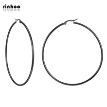 Hot Fashion Circular black hoop Earrings For Women Lady simple Jewelry Gift party jewelry