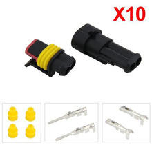 High Quality 10 Kits Sets New Car Part 2 Pin Way Waterproof Electrical Wire Auto Connector Plug Set Car Truck hot